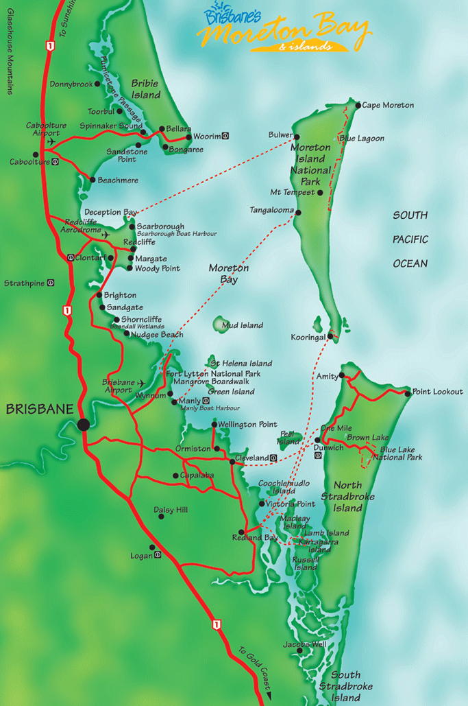 Map shows transit services line of travel to the islands. Retrieved from http://www.queensland-australia.com/moreton-bay-map.html